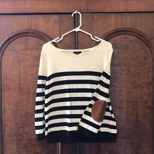 H&M Black & White French Striped Long-Sleeve Top